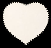 Blank Heart Shaped Postage Stamp. Heart Shaped Blank Back of Postage Stamp Framed by Black Border royalty free stock photos
