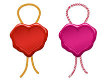 blank heart wax seal with string stock illustration