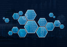 Blank hexagon shape virtual technology screen over graph and cit. Blank hexagon shape virtual technology screen over graph, number and city tower background Stock Photos