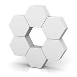 Blank hexagon signboard boxes on white background Stock Image