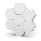 Blank hexagon signboard boxes on white background abstract concept with shadow Royalty Free Stock Photos