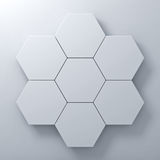 Blank hexagon signboards on white wall background abstract concept with shadow. 3D rendering Royalty Free Stock Image