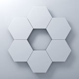 Blank hexagon signboards on white wall background abstract with shadow Royalty Free Stock Photo