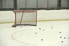 Blank hockey net. And washers Royalty Free Stock Photos
