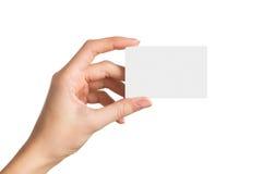 blank holding för hand för affärskort royaltyfria foton