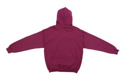 Blank hoodie sweatshirt color maroon back view. Spread blank hoodie sweatshirt color maroon back view on white background royalty free stock photo