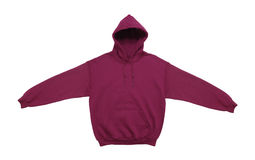 Blank hoodie sweatshirt color maroon front view. Spread blank hoodie sweatshirt color maroon front view on white background stock images