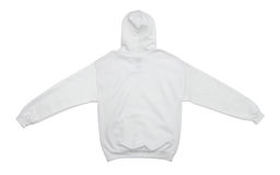 Blank hoodie sweatshirt color white back view. Spread out blank hoodie sweatshirt color white back view on white background Royalty Free Stock Photos