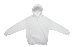 Blank hoodie sweatshirt color white front view. Spread out blank hoodie sweatshirt color white front view on white background Royalty Free Stock Photo