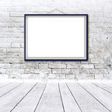 Blank horizontal painting poster in black frame Stock Photography