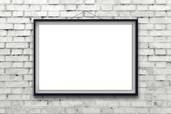 Blank horizontal painting poster in black frame Stock Image