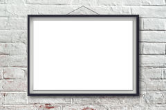 Blank horizontal painting poster in black frame Royalty Free Stock Photos