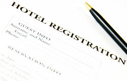 Blank hotel registration form. English registration form for hotel reception Royalty Free Stock Photo
