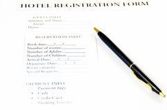 Blank hotel registration form Royalty Free Stock Photo