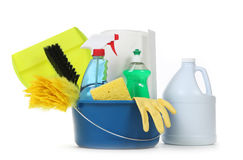 Blank Household Cleaning Supplies in a Bucket Royalty Free Stock Photo