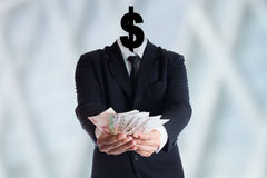 Blank human head and symbol with words Dollars Royalty Free Stock Image