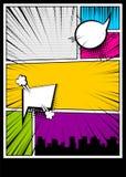 Color comics book cover vertical backdrop. Blank humor graphic. Pop art comics book magazine cover template. Cartoon funny vintage strip comic superhero, text Royalty Free Stock Image