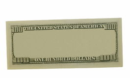 Blank hundred dollars bank note. Isolated on white background Royalty Free Stock Photos