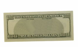 Blank hundred dollars bank note isolated Stock Photos