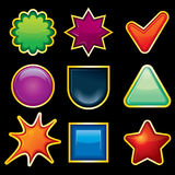 Blank Icons. Blank Shiny Colored Templates for your own icons or buttons Royalty Free Stock Image