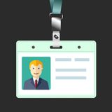 Blank id badge, name tag holder with avatar Stock Images