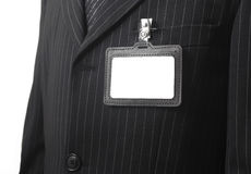 Blank id card on suit Royalty Free Stock Image
