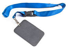 Blank ID card tag with blue ribbon  isolated Stock Photo