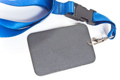 Blank ID card tag with blue ribbon Stock Images