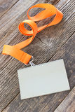 Blank  ID card tag with ribbon Stock Photography
