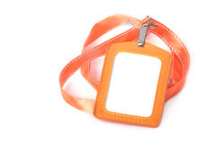 Blank ID with orange neck strap Royalty Free Stock Photography