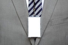 Blank name tag on suit Stock Photography