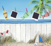 Blank Images and Objects Hanging by the Beach Royalty Free Stock Photo
