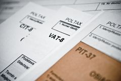 Blank income tax forms. Polish forms PIT CIT and VAT Stock Images