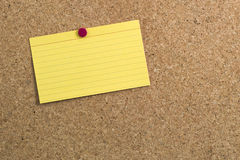 Blank Index Card on Cork board Stock Images