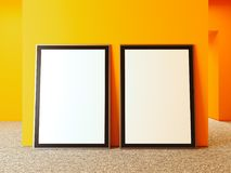 Blank billboards with black frame next to orange walls, 3d rendering. Blank indoor billboards with black frame next to orange walls, 3d rendering Stock Photos
