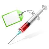 blank injektionssprutaetikett Arkivfoto