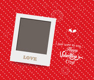Blank instant photo frame lovely on red background Stock Photo