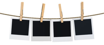 Blank instant photo hanging on the clothesline, 3D rendering vector illustration