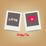 Blank instant two frame photo on background. Love heart, romantic decoration for design royalty free illustration