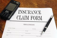 Blank insurance claim form Royalty Free Stock Photo