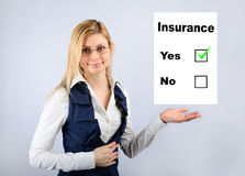 Blank insurance on his hand girl Royalty Free Stock Image
