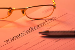 Blank insurance verification form Royalty Free Stock Photography