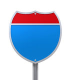 Blank Interstate Road Sign Royalty Free Stock Images