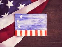 Blank invitation card for Your inscriptions, US Flag stock photos