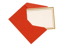 Blank invitation or message card with red envelope isolated, copy space Royalty Free Stock Images