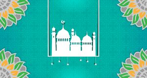Blank Islamic theme template, with the dominance of green royalty free illustration