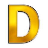 blank isolerad bokstav för D guld Royaltyfri Fotografi