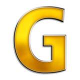 blank isolerad bokstav för G guld Fotografering för Bildbyråer