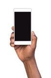 blank isolerad för mobil smart white telefonskärm för hand holding Royaltyfria Bilder