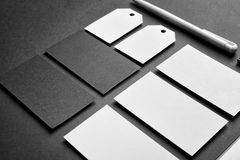 Blank items as mockups for branding. On dark background stock photography